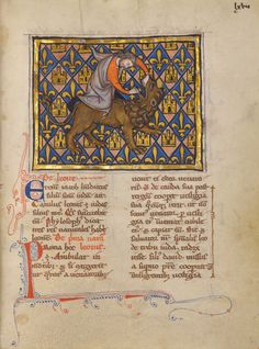 Samson Wrestling with the Lion; Unknown; Thérouanne ?, France (formerly Flanders), Europe; about 1270; Tempera colors, gold leaf, and ink on parchment; Leaf: 19.1 × 14.3 cm (7 1/2 × 5 5/8 in.); Ms. Ludwig XV 3, fol. 67; J. Paul Getty Museum, Los Angeles, California