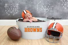 love this idea - philadelphia eagles style though! Go Browns, Browns Fans, Newborn Poses, Baby Boy Newborn, Baby Baby, Baby Boy Photos, Newborn Pictures, Cleveland Browns Football, Football Baby