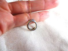 Handmade 3 Circle Gold Vermeil and Oxidized Sterling Silver Circle Pendant Delicate Mixed Metals Necklace - Unique Gift for Her; Modern