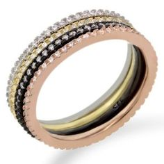 Sterling Silver White Zirconia 4 Color Stackable Eternity Band Rings Set available at joyfulcrown.com