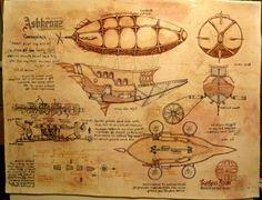 Custom Made Steampunk Airship Custom Drawing/Painting