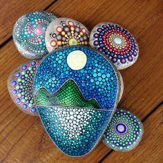 gartendekoration - baum des lebens art bemalter stein - ein, Garten ideen