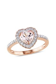 Diamond & Morganite Heart Ring