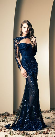 Stunning Sapphire Blue Wedding Gown by Ziad Nakad