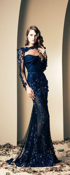 Stunning Sapphire Blue Wedding Gown by Ziad Nakad