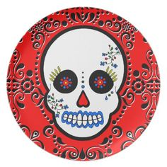 Day of the Dead Sugar Skull - Red / White / Black Melamine Plate  sc 1 st  Pinterest & Day of the Dead Sugar Skull Plate | Sugar skulls