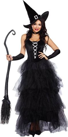 Spellbound 2-Piece Witch Costume - Includes spook-tacular witch's gown with stretch velvet sparkle bodice and full ruffled layered tulle skirt attached, and witch's hat. More