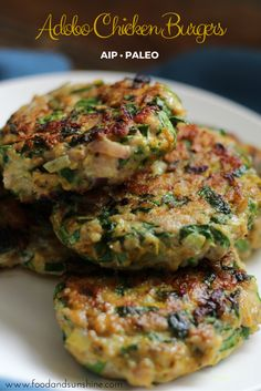 Adobo Chicken Burgers (AIP, Paleo, GF) February 19, 2016 by Kristina Risola Adobo Chicken Burgers are my new jam. These are juicy, popping with flavor, and include turmeric, which makes me feel like I'm doing something ultra healthy and crunchy. They are quick & easy too! #paleo