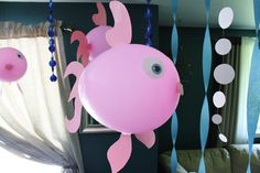 Cheap and simple fish birthday party Decorations! Dinosaur balloons too!
