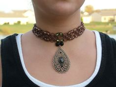 GIFTED:  Teardrop pendant in knotted hemp makes a striking impression for Fall and every time of the year.  $29.95