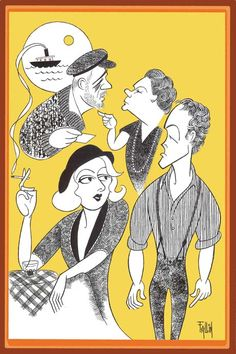 Ken Fallin's illustration of the Irish Repertory Theatre's 2012 cast of New Girl In Town. Top left-right: The likeness of Cliff Bemis and Danielle Ferland. Bottom left-right: The likeness of Margaret Loesser Robinson and Patrick Cummings.