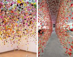 Stunning Flower Gardens That Hang From Ceilings by contemporary and installation artist Rebecca Louise Law