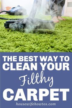 Get rid of carpet stains. Freshen your carpet and kill allergens. Reduce dust in your carpet and remove carpet odors. You'll do it all when you follow these steps to steam clean or shampoo your carpet naturally. #carpetcleaning #carpetodors #steamcleancarpet #carpetshampoo #carpetshampooing #carpetcare #carpetstain #cleaning #housewifehowtos Cleaning Day, Household Cleaning Tips, Steam Cleaning, Cleaning Recipes, Cleaning Hacks, Steam Clean Carpet, How To Clean Carpet, Stain Remover Carpet, Diy Carpet Cleaner