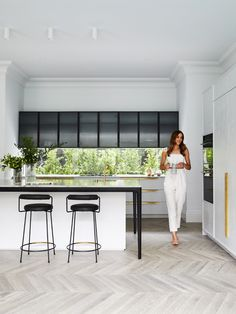 Welcome to season the renovation of our forever home. Room Kitchen, Butlers Pantry and Dining. Rebecca Judd, Interior Design Studio, Interior Styling, Dining Area, Kitchen Dining, Kitchen Flooring, Nordic Blonde, Chevron Floor, Minimal Kitchen