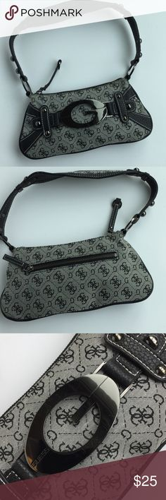 Guess handbag with logo fabric and gunmetal  trim Guess logo clutch with shoulder strap trimmed in dark gray and gunmetal embellishment - great for when u don't want to haul around a ton of stuff - barely used and great condition Guess Bags Mini Bags