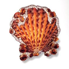 Verdura shell brooch encrusted with sapphires (which seem to be had in virtually every conceivable shade) and diamonds, 1950.