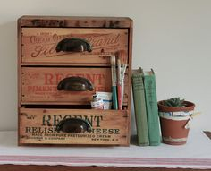 RESERVED for Alana - Multi Drawer Desk Organizer from Repurposed Vintage Cheese Boxes