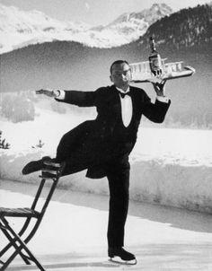 Ice Skating Waiter, St. Moritz, Alfred Eisenstaedt, 1932 !!!pre Sonic roller skaters