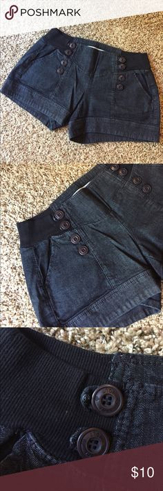 "Jolt Denim Shorts w/ Decorative Buttons 14.5"" waist when laid flat but very stretchy. 3.5"" inseam. 98% cotton and 2% spandex Jolt Shorts"