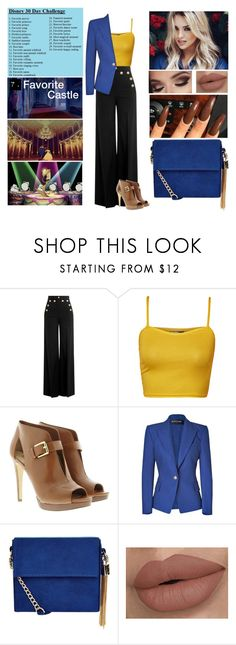 """""""Disney 30 Day Challenge. (Day 7: Favorite castle)"""" by annacastrolima ❤ liked on Polyvore featuring Disney, RED Valentino, WearAll, MICHAEL Michael Kors, Balmain, New Look, blueandyellow, BeautyandtheBeast, yellowandblue and disneycharacter"""