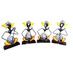 Iron Painted Black And Yellow Ganesh Musicians Set Of Four - FOLKBRIDGE.COM | Buy Gifts. Indian Handicrafts. Home Decorations.