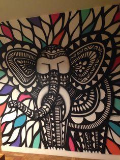 Grafite na parede da sala de um amigo. Artista CADUMEN LINDO! Bairro Itaim, SP
