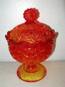 VINTAGE-L-G-WRIGHT-BY-FENTON-ART-GLASS-COMPOTE-LID-AMBERINA-BUTTON-DAISY