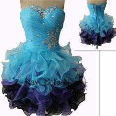 Blue Purple Ruffled Short Pleated Beaded Corset Top Prom Dress