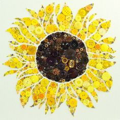 Add a burst of sunshine to any room with this gorgeous bespoke sunflower wall hanging! Expertly crafted with a collection of golden, yellow, Button Art Projects, Button Crafts, Diy Projects, Fun Crafts, Diy And Crafts, Sunflower Art, Sunflower Crafts, Button Picture, Button Flowers