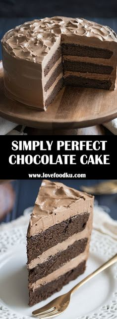 This is THE BEST chocolate cake recipe out there! Easy, one-bowl recipe, moist and melt-in-your-mouth, with tons of deep chocolate flavor! Perfect Chocolate Cake, Amazing Chocolate Cake Recipe, Chocolate Flavors, Chocolate Recipes, Chocolate Food, Just Desserts, Delicious Desserts, Yummy Food, Cake Recipes