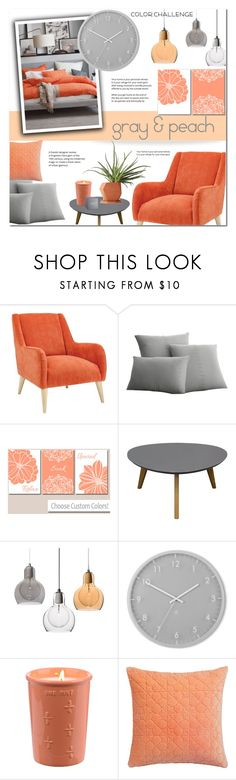 """""""Gray and Warm Peach"""" by alexandrazeres ❤ liked on Polyvore featuring interior, interiors, interior design, home, home decor, interior decorating, Elements, Diamond Sofa, Umbra and CB2"""