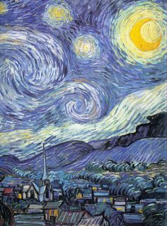 Starry Night by Vincent van Gogh; close up view of some of the detail