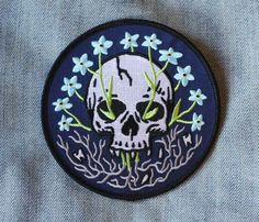 """""""From my rotting body, flowers shall grow and I am in them and that is eternity.""""–Edvard Munch Twill patch w/detailed embroidery Merrowed edge Iron-on backing L Cool Patches, Pin And Patches, Iron On Patches, Embroidery Patches, Embroidered Patch, Cute Pins, Stickers, Pin Badges, Unisex"""