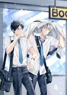 Bokuto Kotarou x Akaashi Keiji / Haikyuu! Anime Boys, Manga Anime, Fanarts Anime, Cute Anime Guys, Bokuto X Akaashi, Daisuga, Bokuaka, Kuroken, Haikyuu Funny
