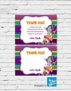 Krishna / Kisna (Hindu God) themed Thank you card for Birthday Boy - Any Age Krishna Birthday, Birthday Thank You Cards, Time Capsule, Kid Names, Boy Birthday, Special Day, Tea Party, Party Favors, Party Themes
