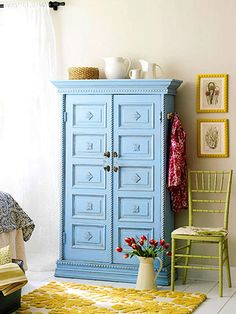 A trash-ready farmhouse cabinet became a fabulous detail-rich armoire with an application of molding.We used a steel brush to remove the flaky paint, then sanded and primed the piece before adding moldings and completing the final paint job. If you're up to the challenge, add crown molding.