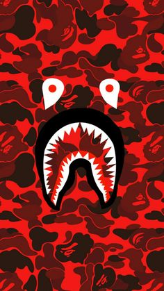 Bape shark face red camo phone wallpapers in 2019 милые обои Bape Shark Wallpaper, Bape Wallpaper Iphone, Hypebeast Iphone Wallpaper, Supreme Iphone Wallpaper, Cool Wallpapers Supreme, Camouflage Wallpaper, Camo Wallpaper, Nike Wallpaper, Cartoon Wallpaper