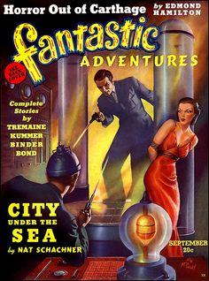 Fantastic Adventures, Vol 64 Vintage Pulp Magazine Golden Age Fiction DVD Science Fiction Magazines, Pulp Fiction Book, Pulp Novel, Comic Book Covers, Comic Books, City Under The Sea, Adventure Magazine, Pulp Magazine, Magazine Covers