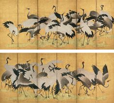Ishida Yūtei (石田幽汀; 1721–1786), Flock of Cranes, second half of the 18th century. Pair of six-panel folding screens; ink, color, and gold on gilded paper. Mary Griggs Burke Collection, gift of the Mary and Jackson Burke Foundation. Japanese Wall Art, Japanese Screen, Japanese Painting, Chinese Painting, Mediums Of Art, Decorative Screens, Paper Artwork, China Art, Folding Screens