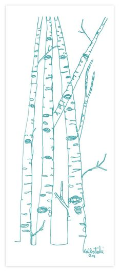 continuous line drawing of birch trees.  Love birch trees! Never get tired of birch trees!