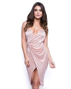 Flash Back Satin Gathered Wrap Dress in Pink
