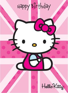 Personalised Birthday Greeting Card - Hello Kitty Union Jack Happy Birthday - Hello Kitty - Personalised Greeting Cards | Card Town