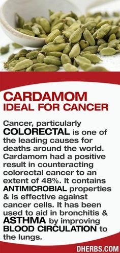 Cancer, particularly colorectal is one of the leading causes for deaths around the world. Cardamom had a positive result in counteracting colorectal cancer to an extent of 48%. It contains antimicrobial properties  is effective against cancer cells. Also it has been used to aid in bronchitis  asthma by improving blood circulation to the lungs. #dherbs #healthtips