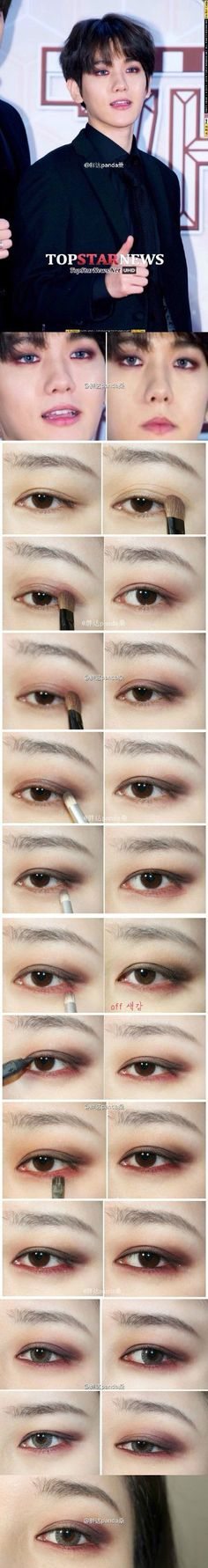 EXO Baekhyun's smoky red brown make up tutorial (cr.1208_sj) (Best Eyeliner Korean)