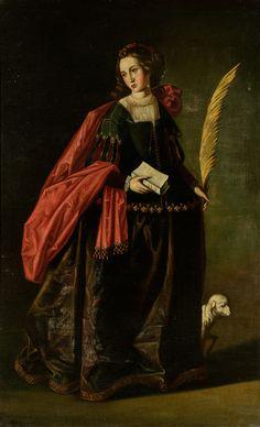 """Escuela sevillana del siglo XVII.""""Santa Inés"""".Óleo sobre lienzo.Con marco moderno.Medidas: 166 x 103 cm; 190 x 127"""