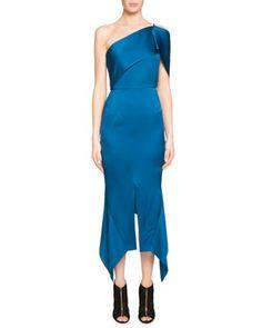 Harlow One-Shoulder Satin Handkerchief-Hem Midi Dress by Roland Mouret at Neiman Marcus.