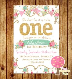 Shabby Chic First Birthday Party Invitation, Gold Glitter Birthday Invitation, Pink and Mint, One, First Birthday by PinkLemonadeTree on Etsy https://www.etsy.com/listing/241862257/shabby-chic-first-birthday-party