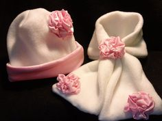 White Fleece Baby and Toddler Girl's Winter Hat and Scarf Set by BabyHatIsland, $24.00