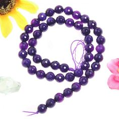 """15""""L Faceted Crystal Quartz Purple Rondelle Beads - Quartz/Crystal - Loose Beads - Jewelry"""