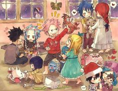 Merry Christmas, Fairy Tail characters, cute, young, childhood, nursery; Fairy Tail